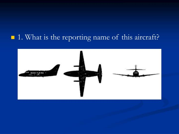 1. What is the reporting name of this aircraft?