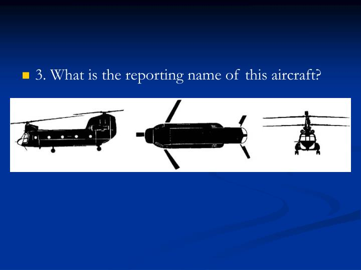 3. What is the reporting name of this aircraft?