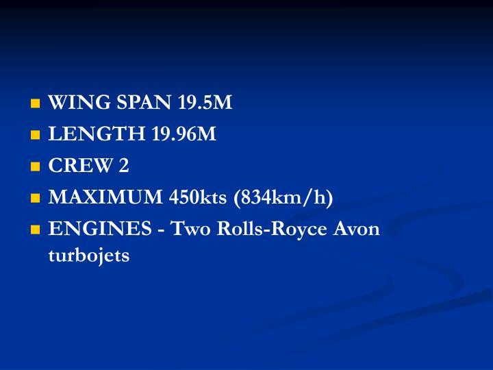 WING SPAN 19.5M
