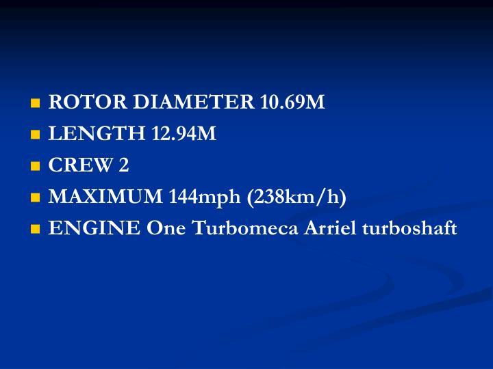 ROTOR DIAMETER 10.69M