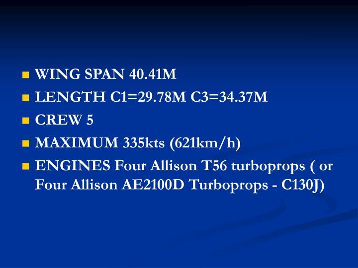 WING SPAN 40.41M