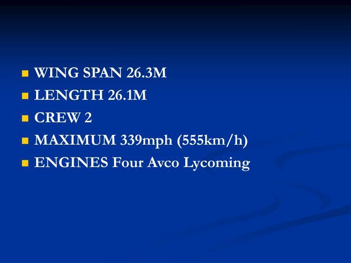 WING SPAN 26.3M