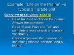 example life on the prairie a typical 3 rd grade unit
