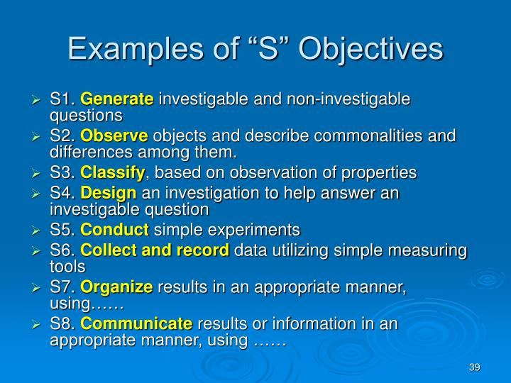 "Examples of ""S"" Objectives"