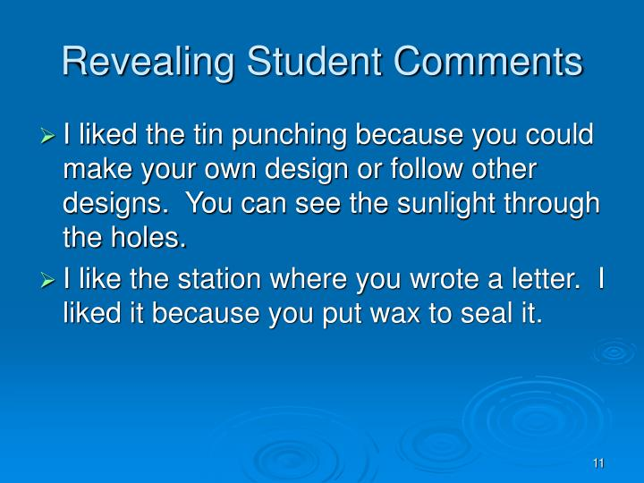 Revealing Student Comments