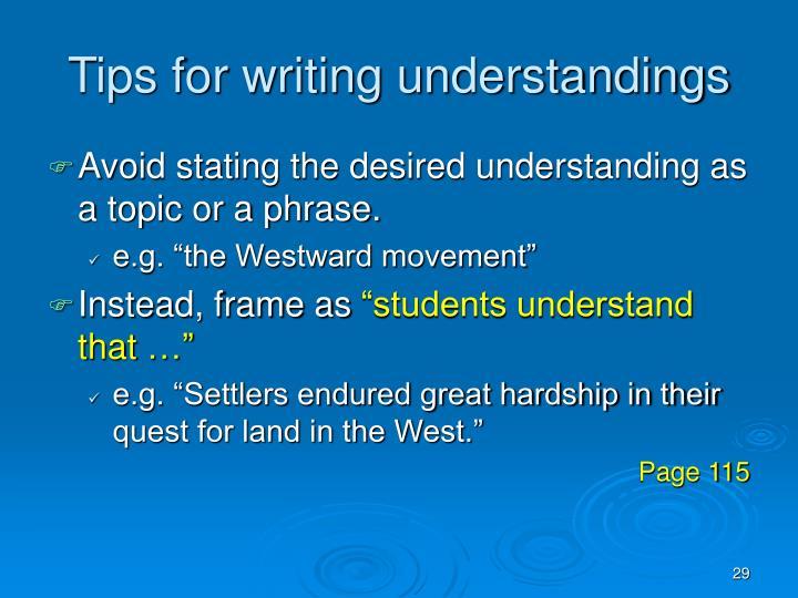 Tips for writing understandings