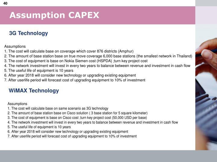Assumption CAPEX