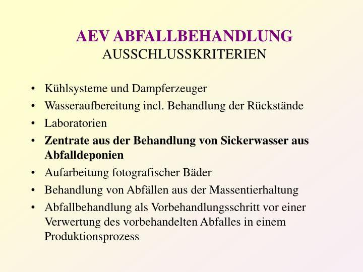 AEV ABFALLBEHANDLUNG