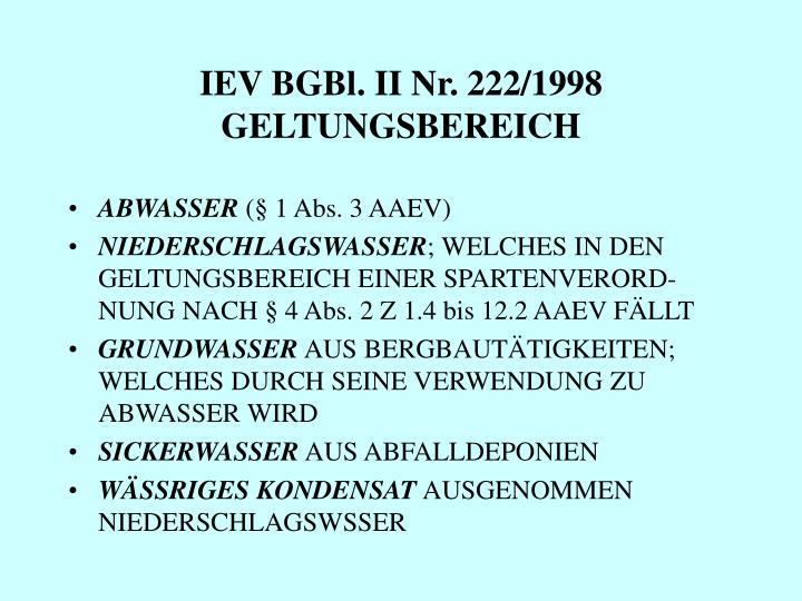 IEV BGBl. II Nr. 222/1998