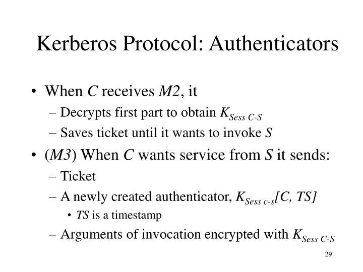 Kerberos Protocol: Authenticators
