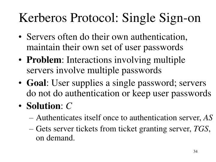 Kerberos Protocol: Single Sign-on