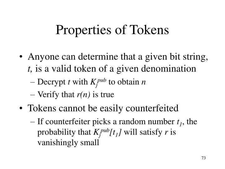 Properties of Tokens