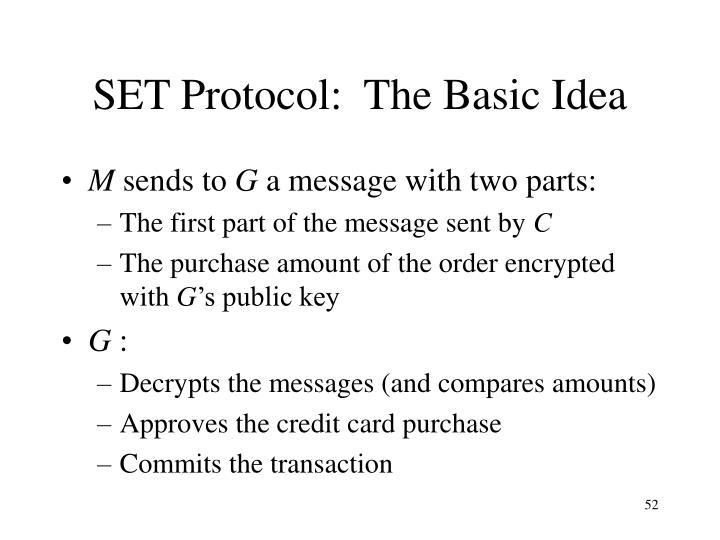SET Protocol:  The Basic Idea