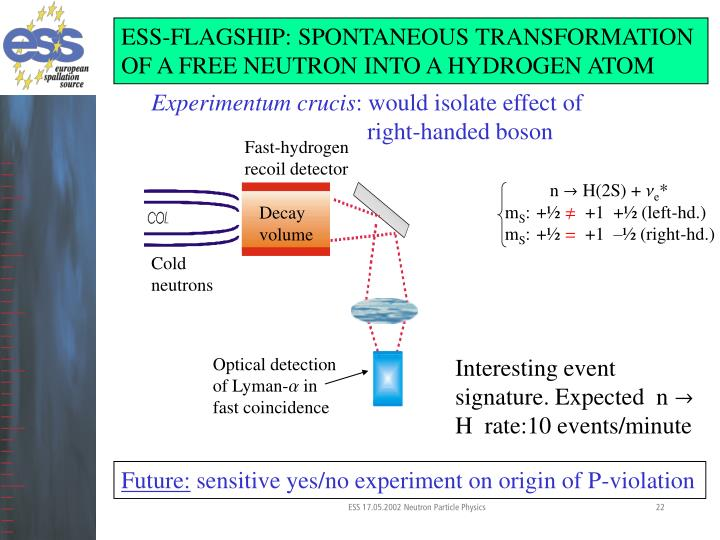 ESS-FLAGSHIP: SPONTANEOUS TRANSFORMATION OF A FREE NEUTRON INTO A HYDROGEN ATOM