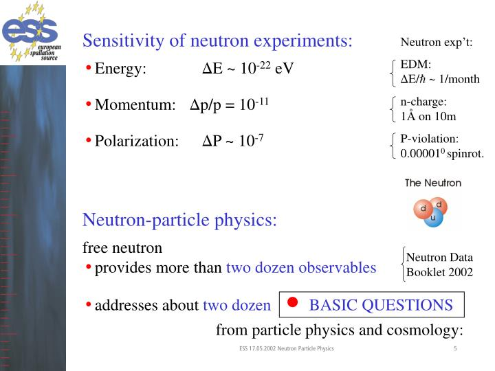 Sensitivity of neutron experiments: