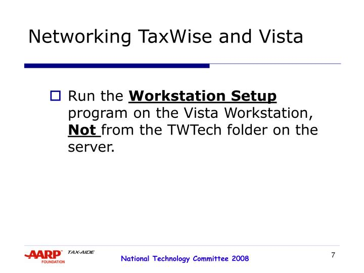 Networking TaxWise and Vista