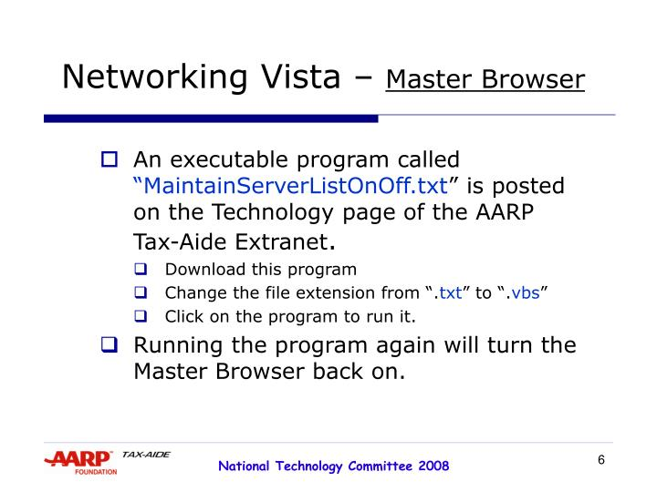 Networking Vista –