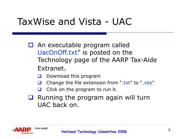 Taxwise and vista uac