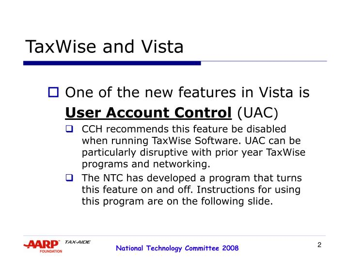 Taxwise and vista1