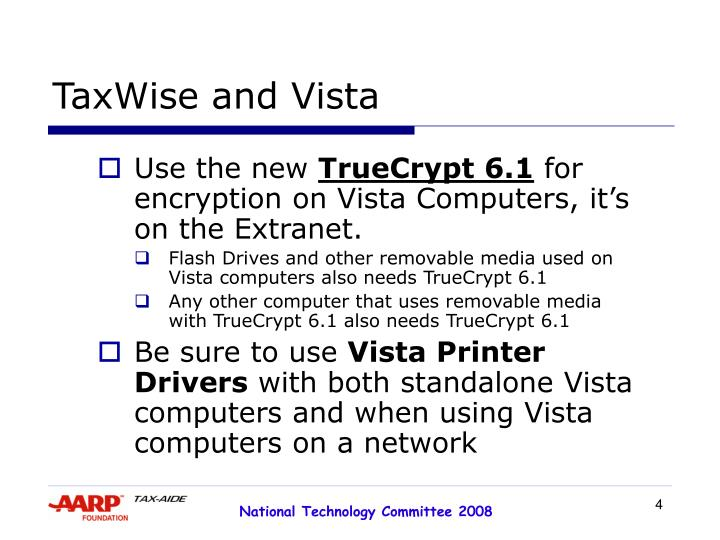 TaxWise and Vista