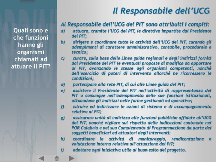 Il Responsabile dell'UCG
