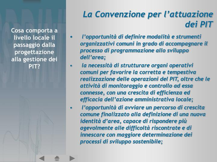 La Convenzione per l'attuazione dei PIT