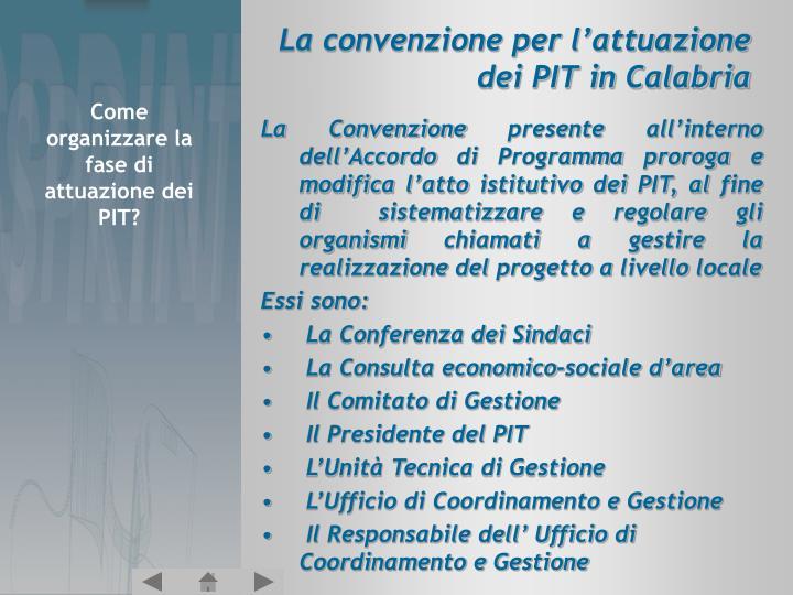 La convenzione per l'attuazione dei PIT in Calabria