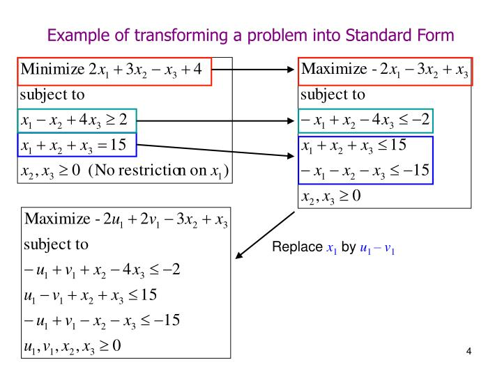 Example of transforming a problem into Standard Form