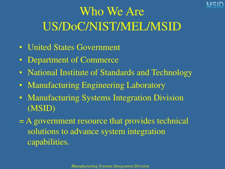 Who we are us doc nist mel msid