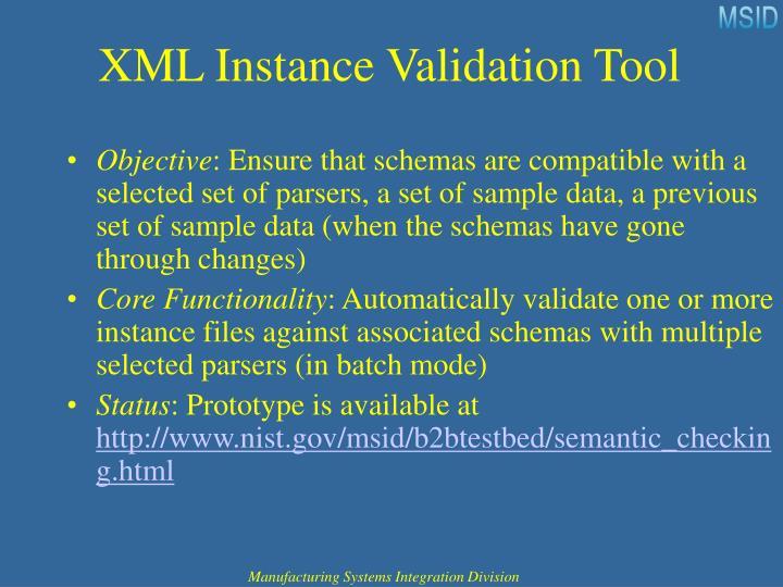 XML Instance Validation Tool
