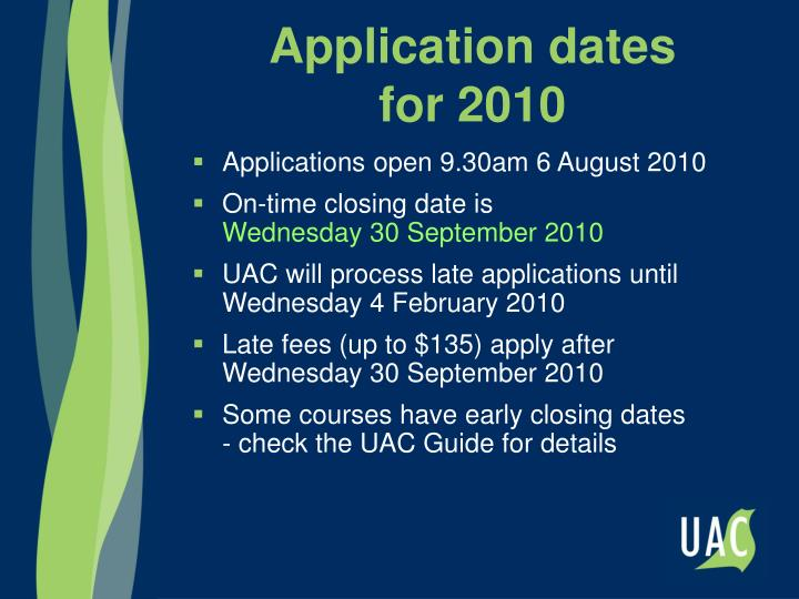 Application dates