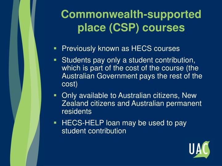Commonwealth-supported place (CSP) courses