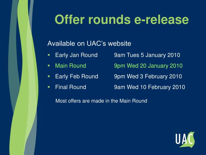 Offer rounds e-release