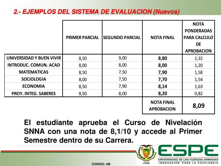 2.- EJEMPLOS DEL SISTEMA DE EVALUACION