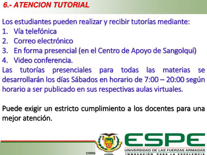 6.- ATENCION TUTORIAL