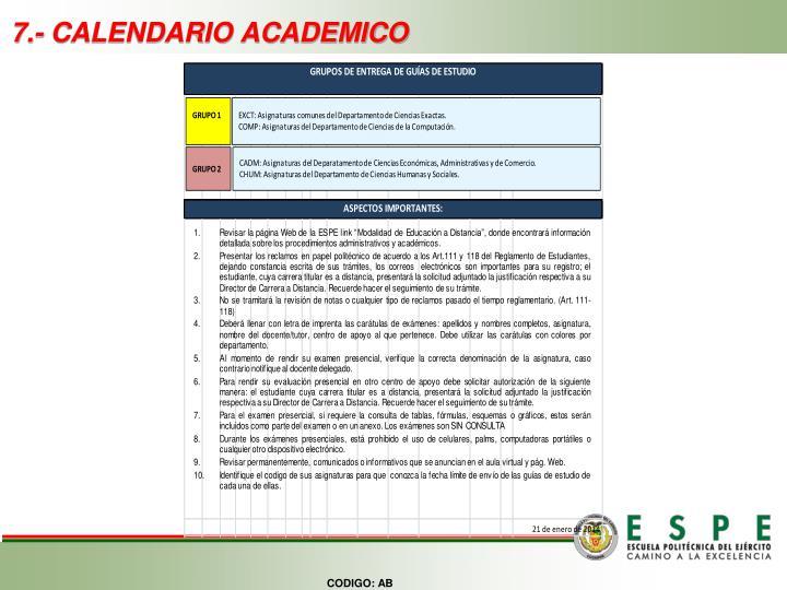 7.- CALENDARIO ACADEMICO