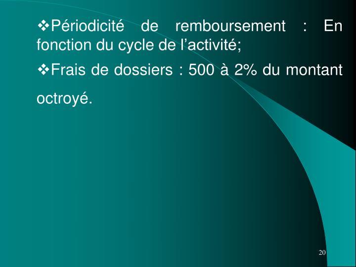 Périodicité de remboursement: En fonction du cycle de l'activité;