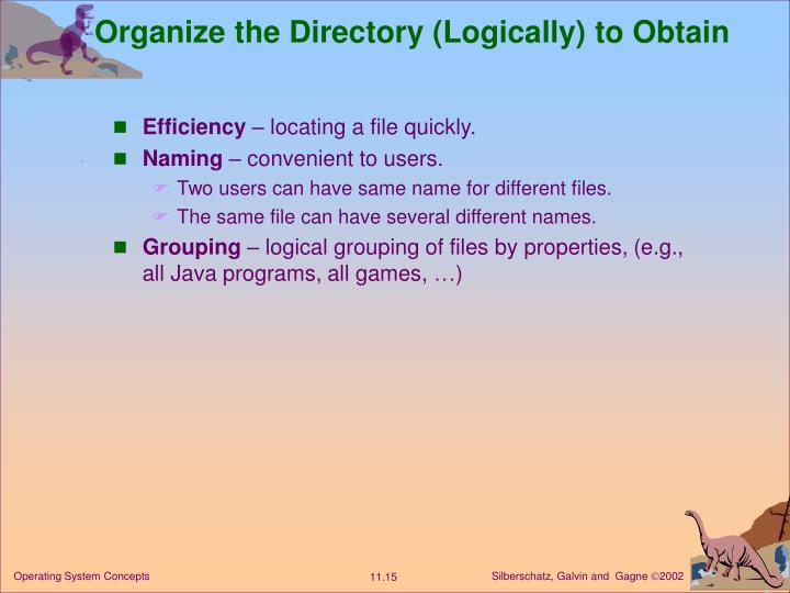 Organize the Directory (Logically) to Obtain