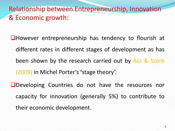 Relationship between Entrepreneurship, Innovation & Economic growth: