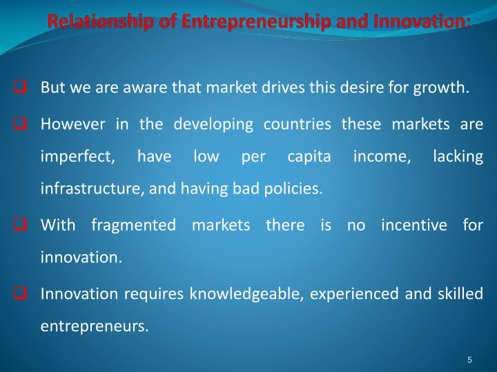 Relationship of Entrepreneurship and Innovation: