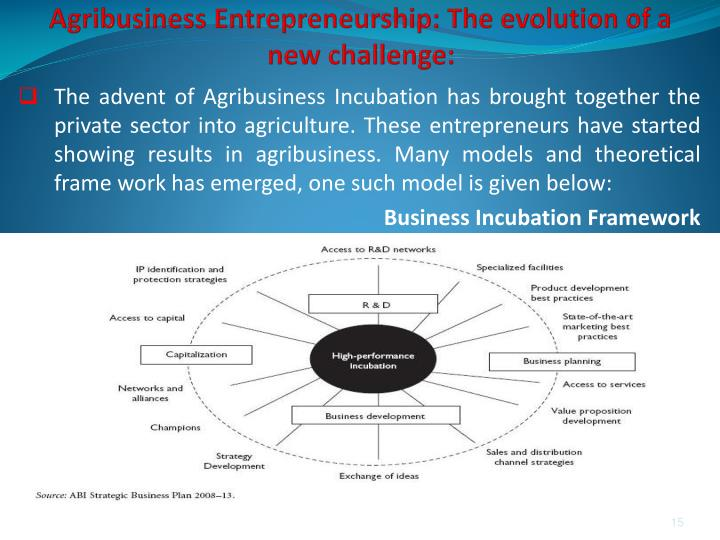 Agribusiness Entrepreneurship: The evolution of a new challenge:
