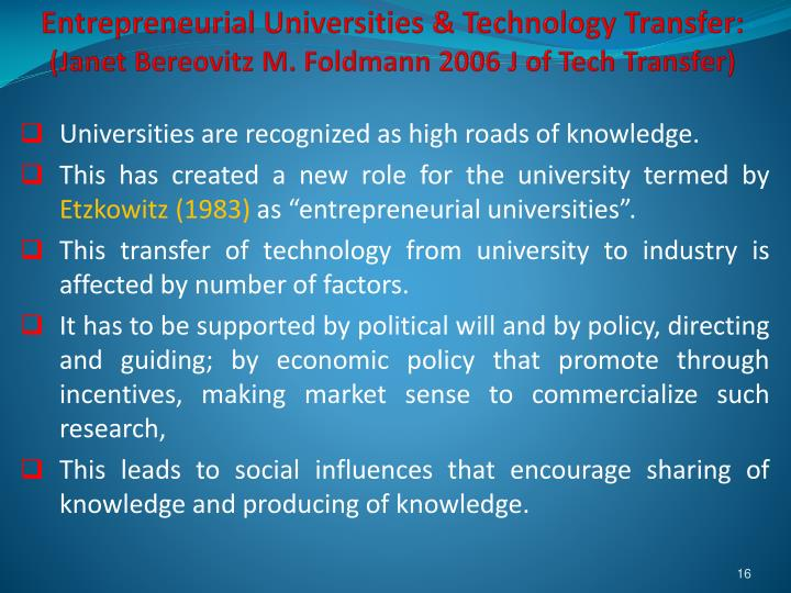 Entrepreneurial Universities & Technology Transfer