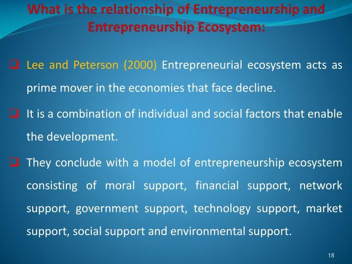 What is the relationship of Entrepreneurship and Entrepreneurship Ecosystem: