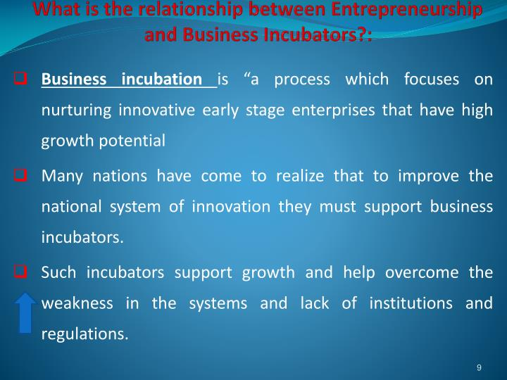 What is the relationship between Entrepreneurship and Business Incubators?: