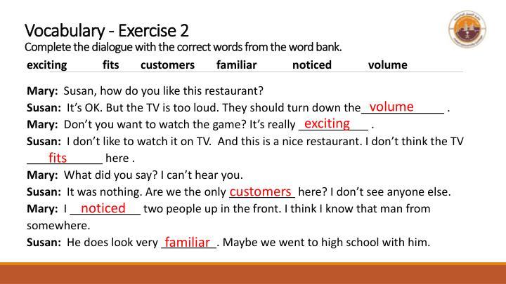 Vocabulary - Exercise 2