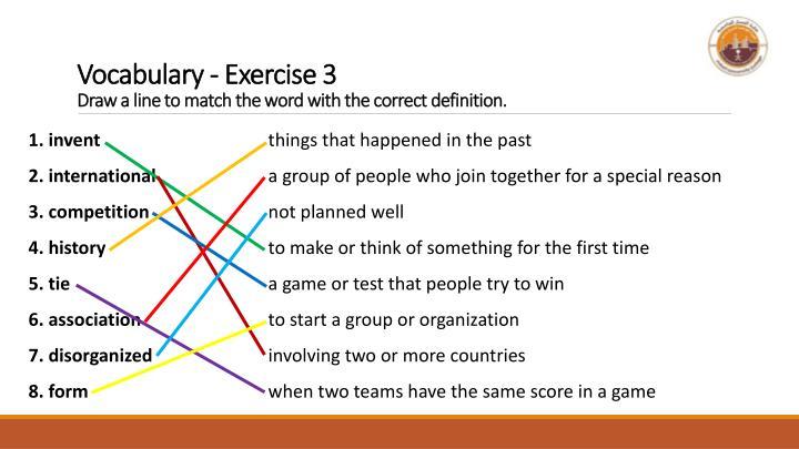 Vocabulary - Exercise 3