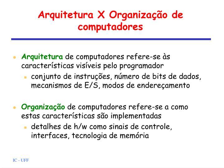 Arquitetura X Organização de computadores