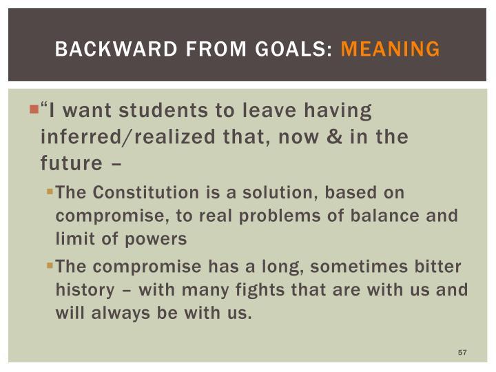 Backward from Goals: