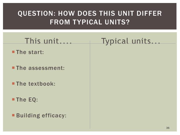 Question: How does this unit differ from typical units?