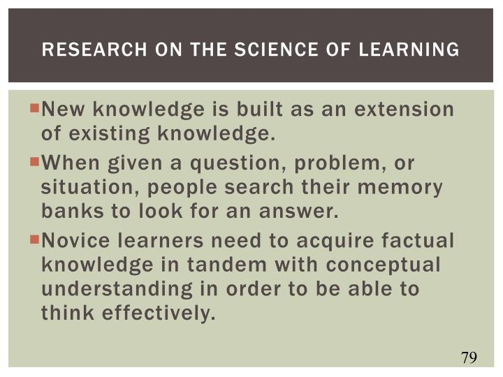 Research on the science of learning